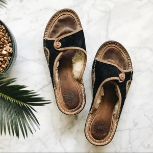 UGG Dark Brown Leather and Sheep Wool Sandals - 7